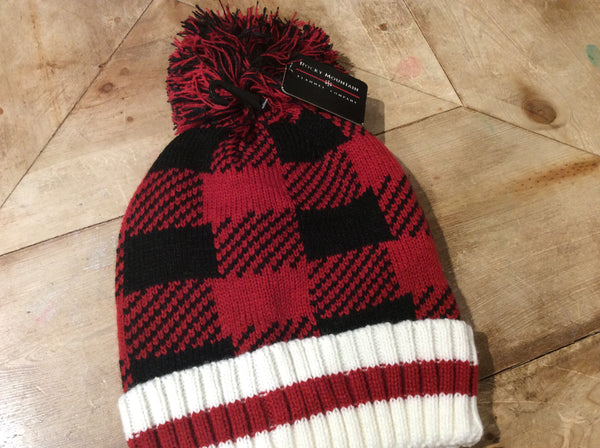 Buffalo Check Toque with Mixed Pompom