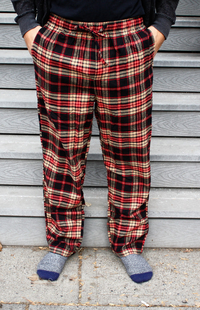 Flannel Pant in Camel/Black