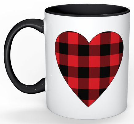 Buffalo Check Heart Mug