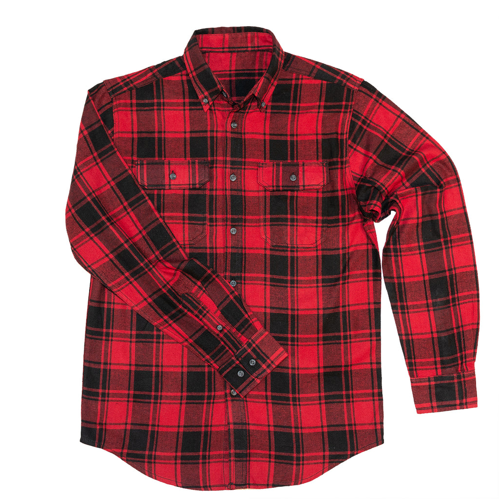 Men's Flannel Shirt Red Black Square