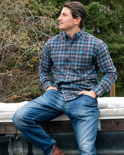 512 Blue and Grey Mini Check Men's Flannel Shirt