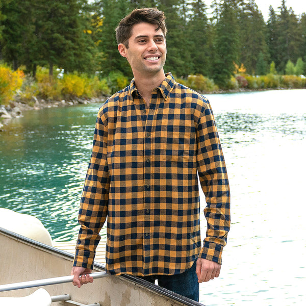 812 Mustard wth Navy Mens Flannel Shirt