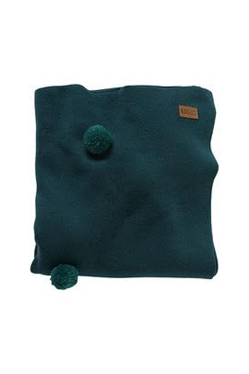 Kip & Co - DARK EMERALD 100% WOOL Pom Pom BLANKET - Medium