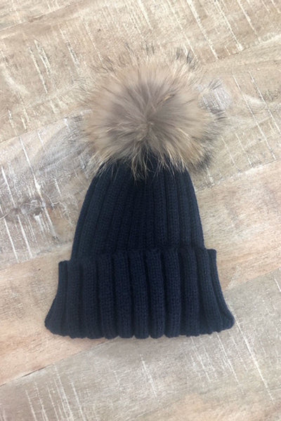S&AJ - Wool Beanie w Raccoon Pom Pom | Navy Blue