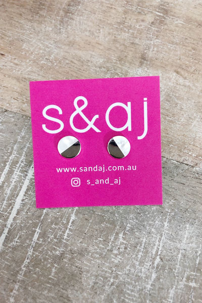 Half Silver Half White Stud Earrings