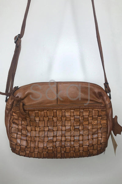 Rugged Hide - Adelaide - Woven Cross Body - Cognac