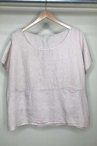 LINEN Short Sleeve Top with Front Pockets O/S