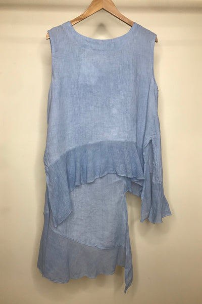 LINEN SLEEVELESS FRILL TOP - BLUE- O/S