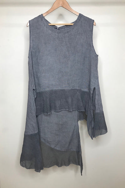 LINEN SLEEVELESS FRILL TOP - CHARCOAL - O/S