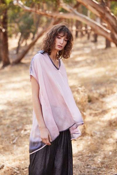 Ruffy Silk Tee Top - pink
