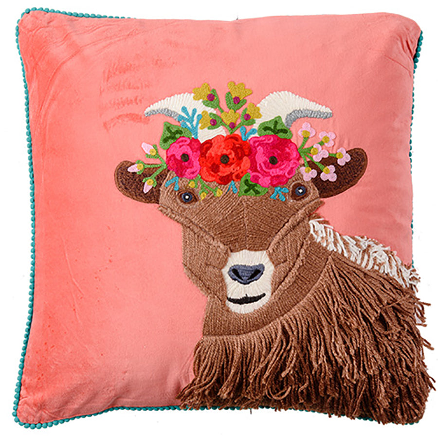 Velvet Embroidered Goat Cushion 45x45cm