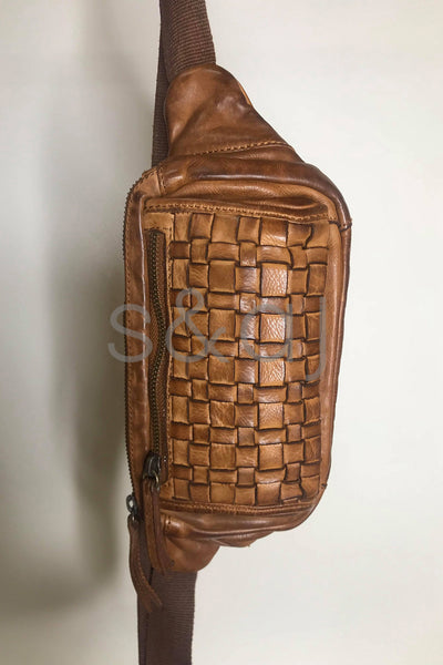 Rugged Hide - Vienna - Woven Bum Bag - Cognac