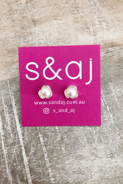 Triple Petal Pearl Stud Earrings