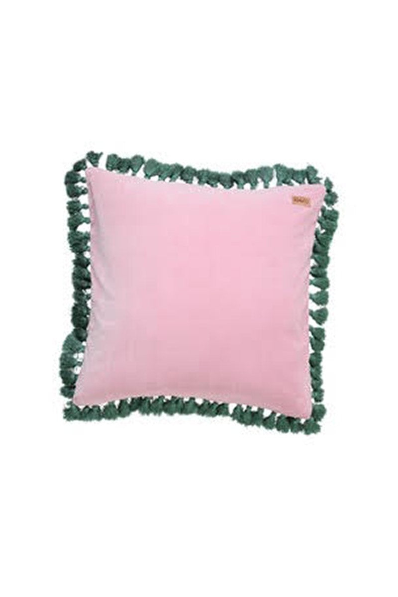 Kip & Co - GUAVA PINK VELVET TASSEL CUSHION COVER