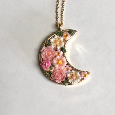 Pink Floral Dreams Crescent Moon Necklace