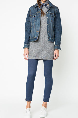 Denim Style Fleece Jeggings - Mid Denim