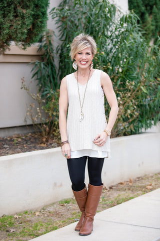 Ribbed Layering Tank in Taupe