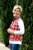 Zip Me Up Vest in Red Plaid