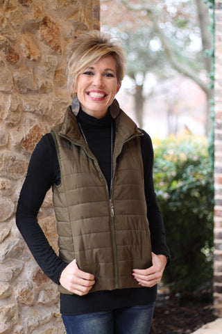 Quilted Puffer Vest in Olive