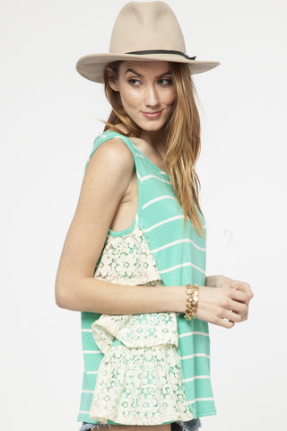 Lace Trim Tank - Jade