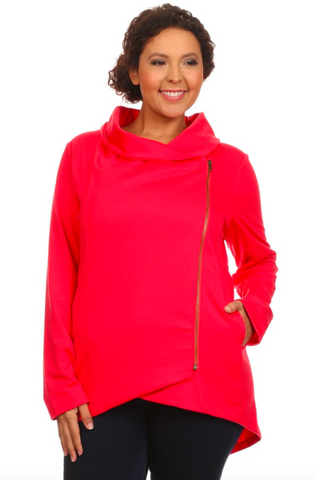 Crossover Zippered Jacket in Coral - Curvy