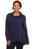 Crossover Zippered Jacket in Navy - Curvy