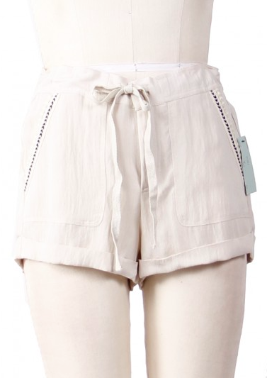 Tie-Waist Shorts in Natural