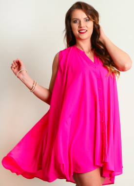 Trapeze Dress in Hot Pink