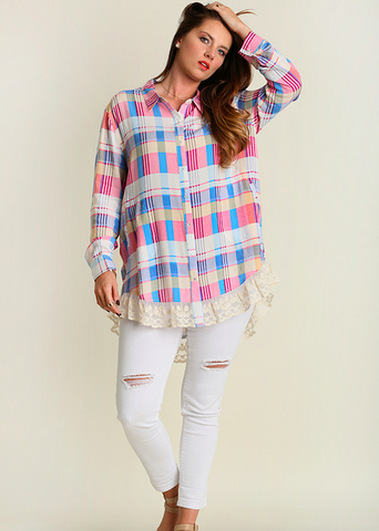 Plaid Print Button Up