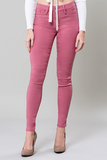 Mid-Rise Hyperstretch Skinny Pants in Rose