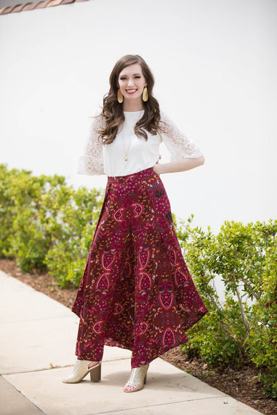 Hayden Wide Leg Pants Burgundy
