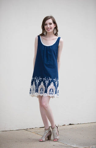 Chandelier Tank Dress in Navy