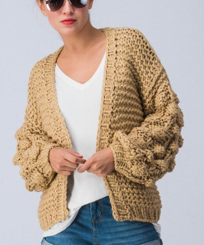 Bubble Sleeve Sweater Cardi