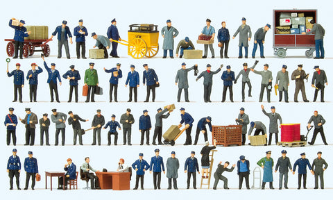 Preiser 13004 Mega Set - Railroad workers 60 figures