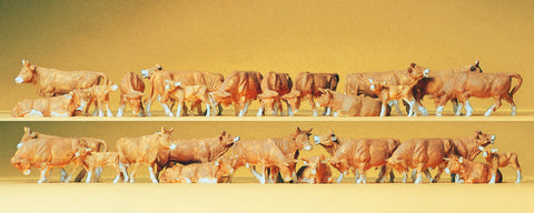 Preiser 14409 Brown Cows. 30 Figures