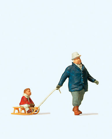 Preiser 28078 Man towing sledge with Child
