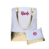 Bride White and Gold Monogrammed Tote Bag and Make-up Bag