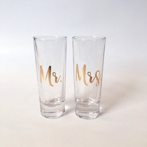 Mr and Mrs Gold Shot Glasses