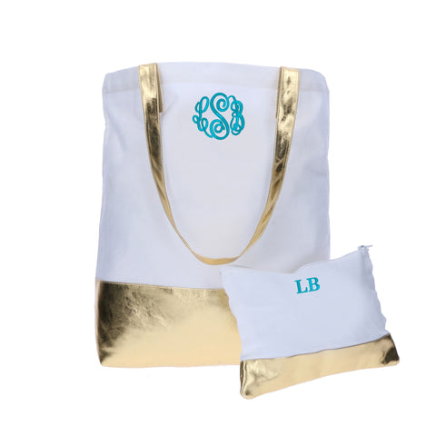White and Gold Monogrammed Tote Bag and Make-up Bag
