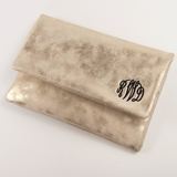 Monogrammed Gold Foldover Clutch