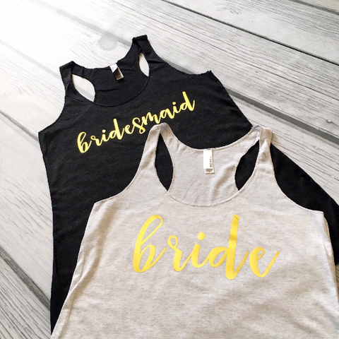 Gold Bridesmaid Tank Tops