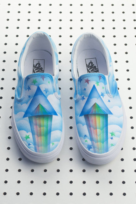 Custom Airbrushed Slip On Vans Mens 11 - Adam Seagull,Clothing and Home Goods in Los Angeles - Virgil Normal