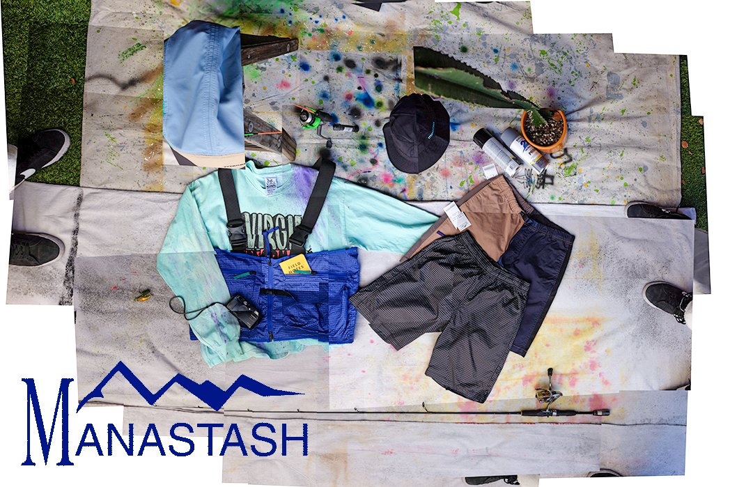 manastash-urban-outdoor-gear-5-panel-color-blocked-hat-made-for-hiking-utility-vest-made-of-blue-ripstop-many-pockets-for-cameras-phones-fishing-supplies-spray-paint-boonie-cap-made-of-black-rip-stop-bucket-hat-shorts-with adjustable-belt-made-of-black-ripstop-shorts-colorblocked-with-adjustable-belt-pockets-made-of-twill-durable-for-rock-climbing