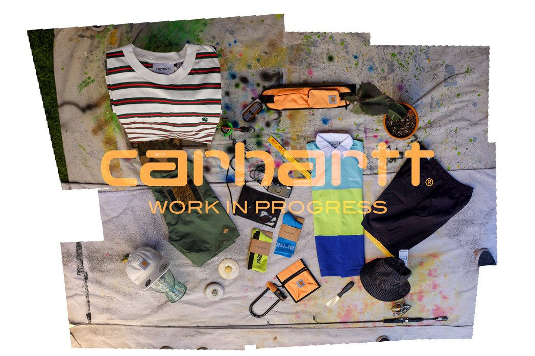 Carhartt-work-in-progress-wip-striped-short-sleeve-cotton-tee-shirt-cream-red-green-stripes-nylon-green-shorts-mesh-back-pocket-built-in-adjustable-belt-outer-wear-seersucker-white-6-panel-unstructured-adjustable-cap-foldable-brim-you can-pack-in-backpack-without-damaging-shoulder-bag-black-nylon-four-pockets-drawstring-adjustable-shoulder-strap-neon-orange-shoulder-bag-drawstring-adjustable-4-pockets-holds-camera-phone-wallet-neon-green-safety-cotton-socks-black-carhartt-logo-weaved-into sock-neon-blue-carhartt-wip-cotton-sock-white-letters-color-blocked-carhartt-wip-rugby-long-sleeve-shirt-blue-shoulder-green-torso-royal-bottom-white-collar-black-washed-shorts-adjustable-belt-5-pockets