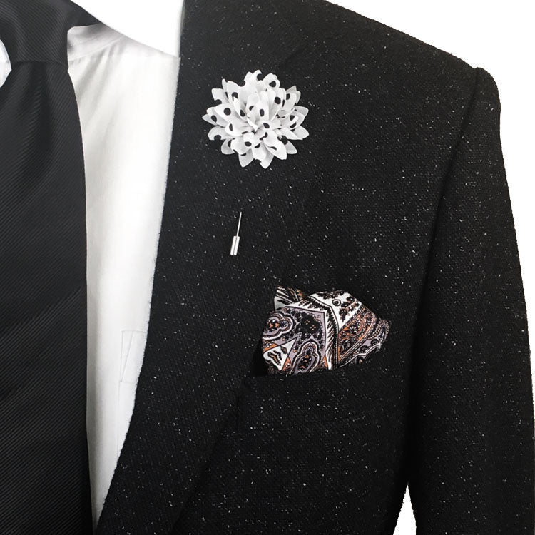 White and black polka dot chiffon lapel flower pin the white and black polka dot chiffon lapel flower pin the accessorized man mightylinksfo