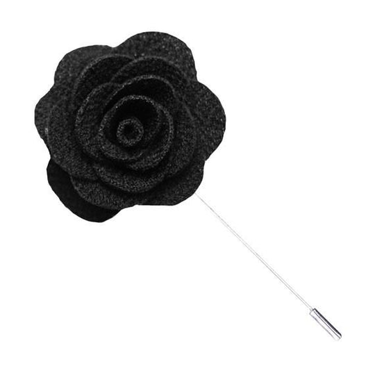 Black Knit Microfiber Lapel Flower Pin - The Accessorized Man