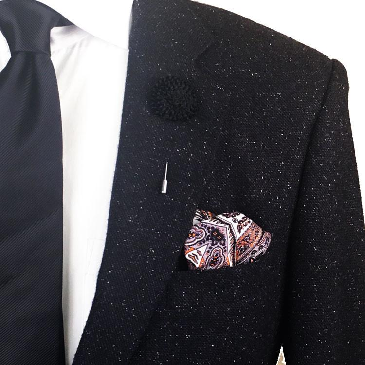 Black Textured Satin Lapel Flower Pin - The Accessorized Man