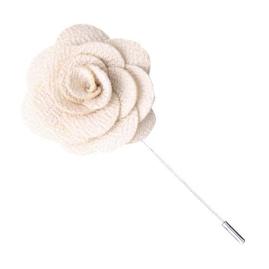 Cream Knit Microfiber Lapel Flower Pin - The Accessorized Man