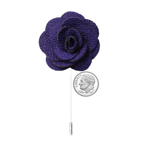 Dark Purple Knit Microfiber Lapel Flower Pin - The Accessorized Man