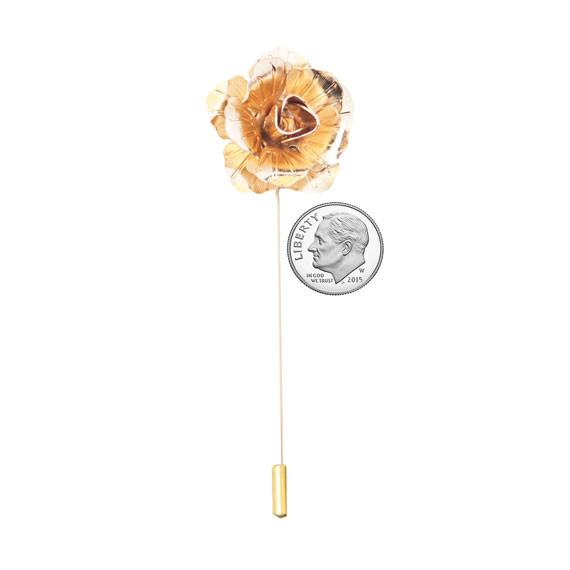 Gold Rose Metal Lapel Pin - The Accessorized Man